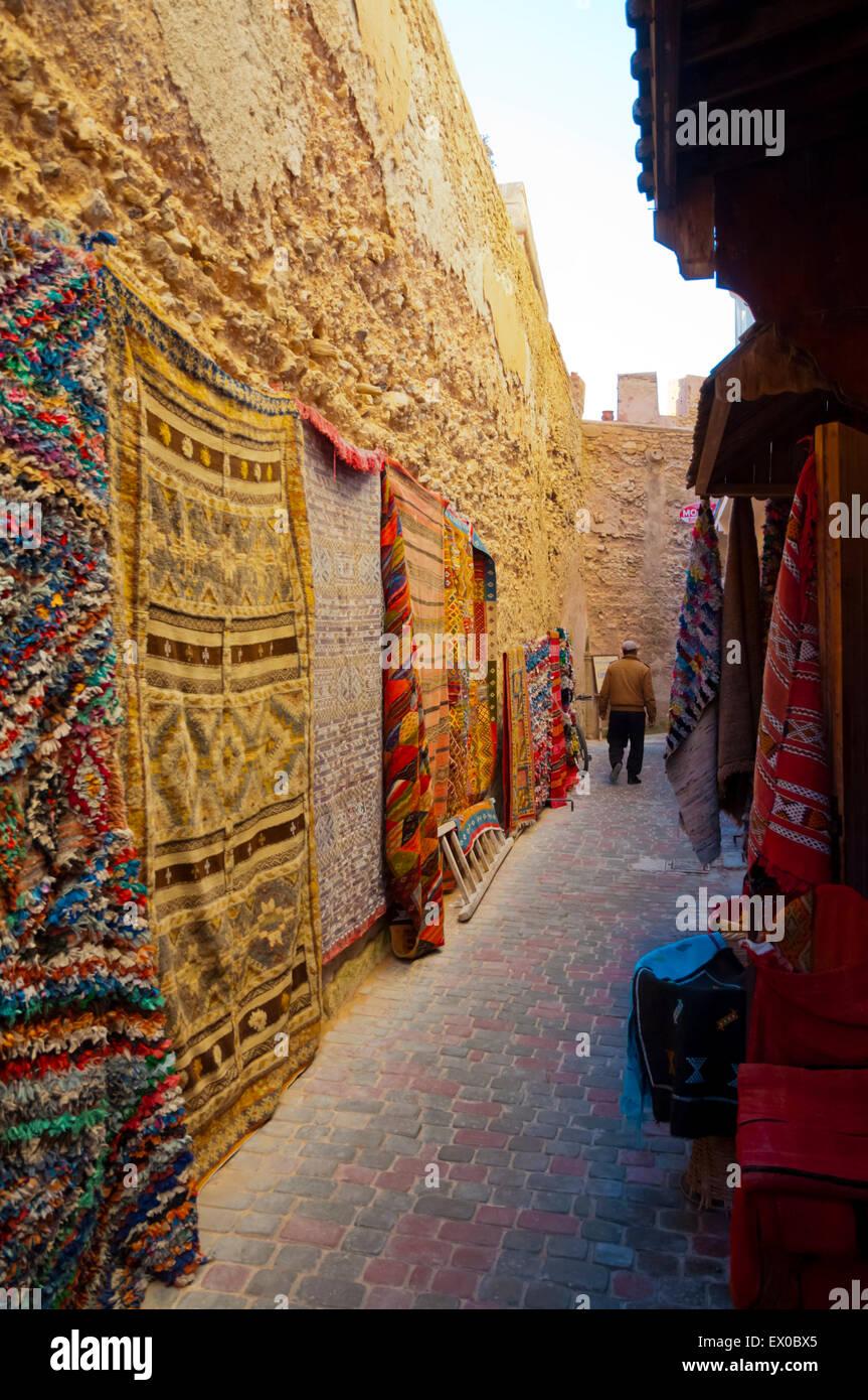 Carpets, Medina, Essaouira, Atlantic coast, Morocco, northern Africa - Stock Image