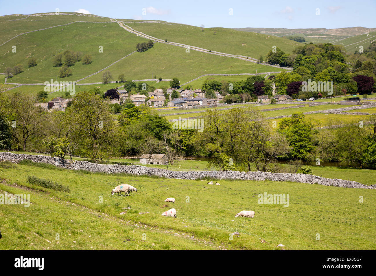 River Wharfe valley, Wharfedale, Kettlewell village, Yorkshire Dales national park, England, UK - Stock Image