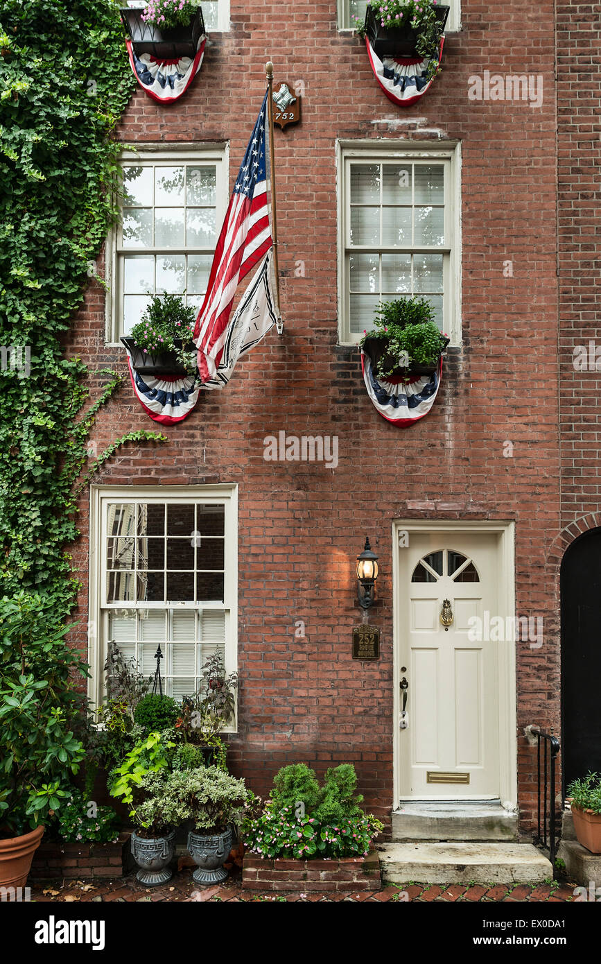Townhouse, Quince Street, Old City, Philadelphia, Pennsylvania, USA - Stock Image