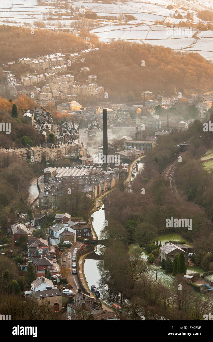 Elevated view over the town of Hebden Bridge, Calderdale, West Yorkshire, UK - Stock Image