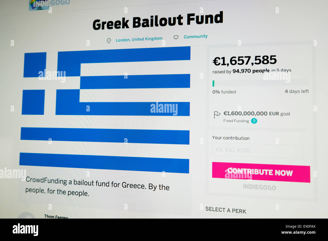 London, UK.  3rd July 2015.  A crowdfunding Greek Bailout Fund set up online for the people of Greece on the Indiegogo - Stock Image