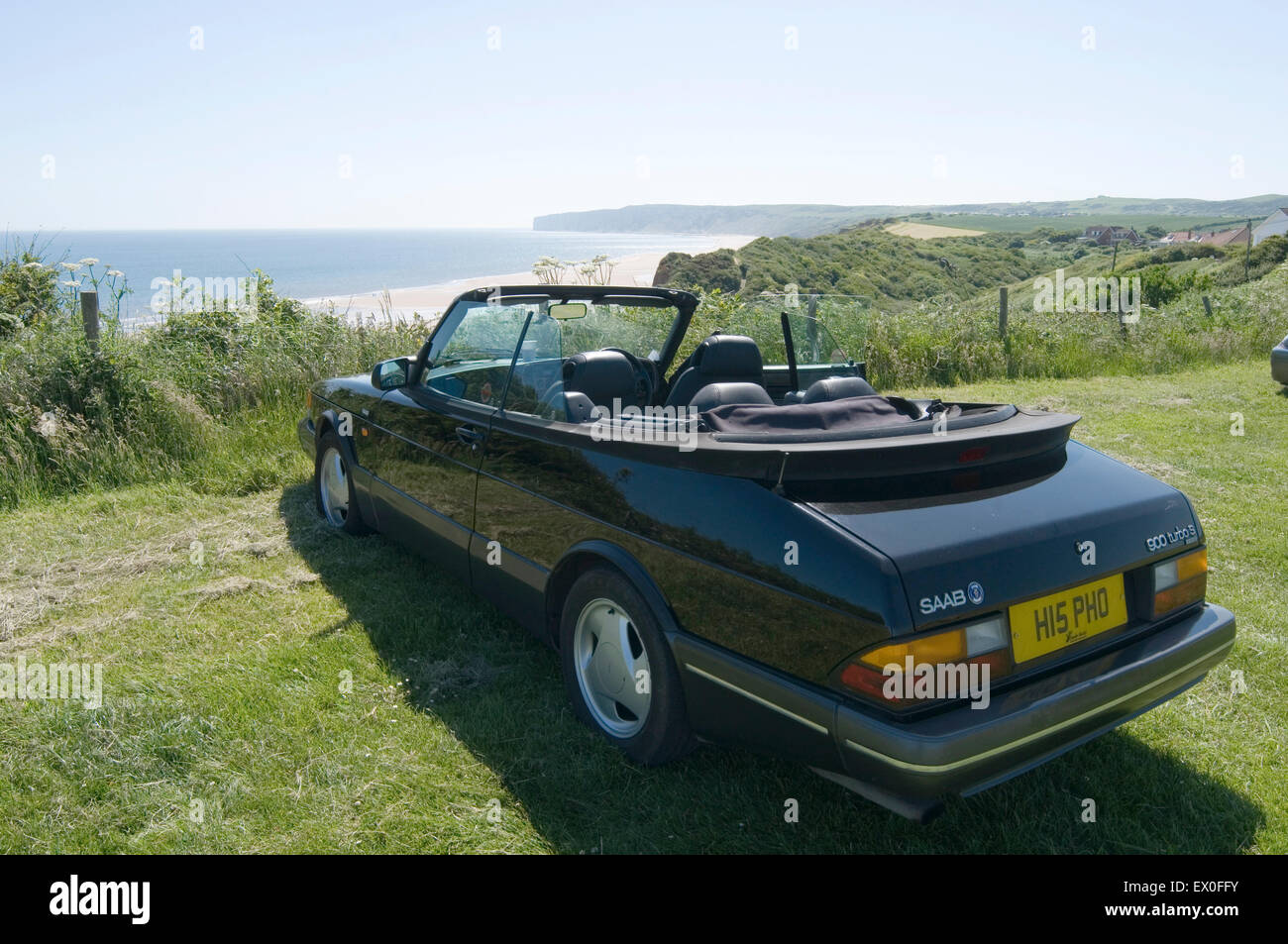 saab 900 softop convertible convertibles softops soft top tops roofdown classic car cars - Stock Image