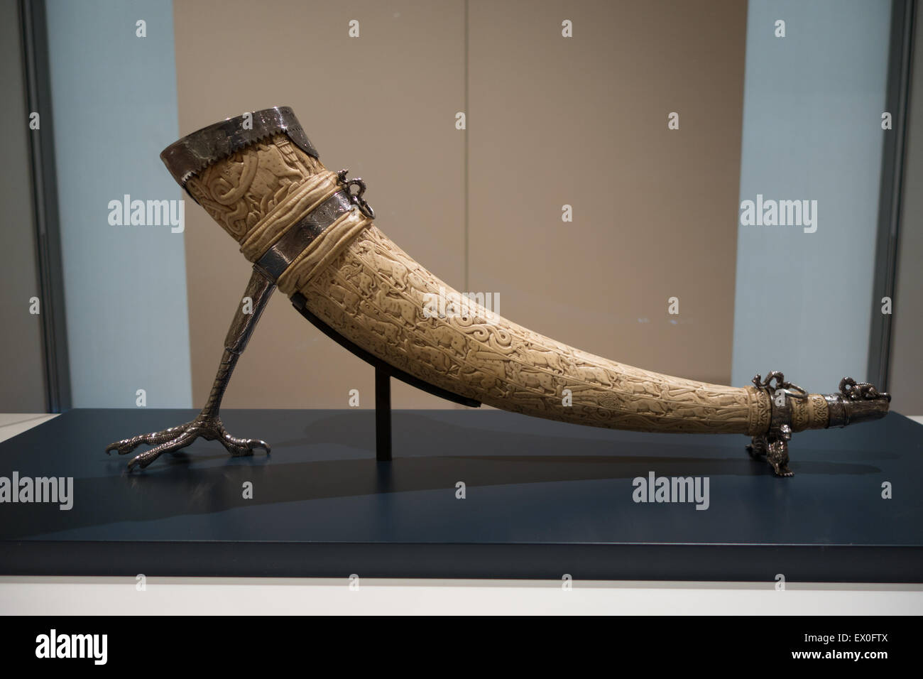 ivory horn sicily 12th century - Stock Image