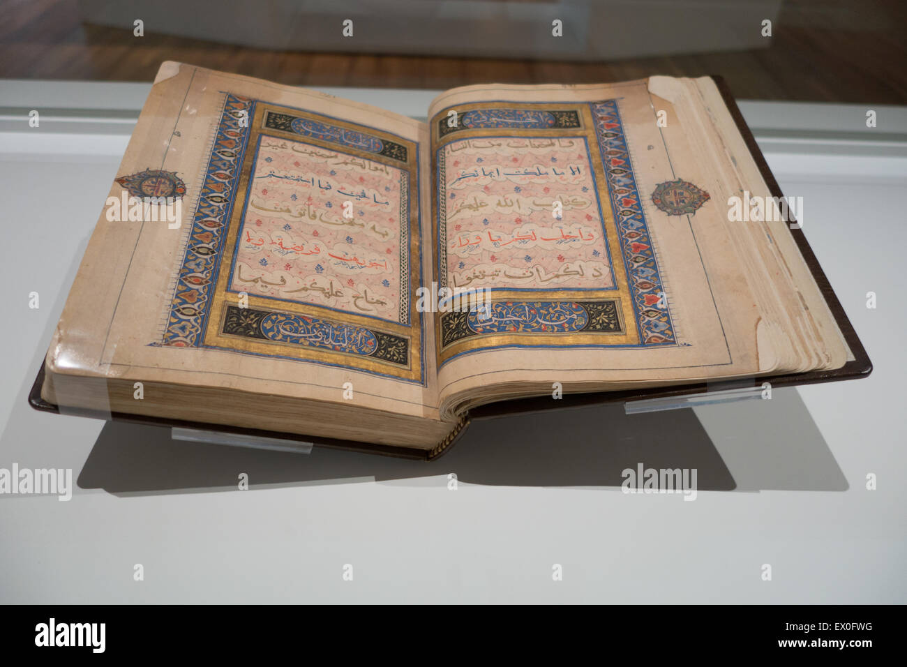 Quran signed by Mahmud Sha'ban in the fortresses of Galyur (Gwalior) Hindustan 4 July 1302 - Stock Image