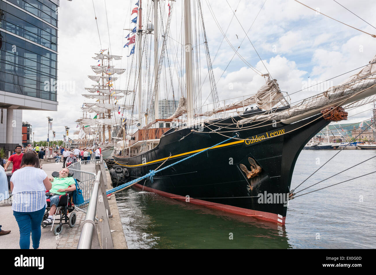 Belfast, Northern Ireland, UK. 02nd July, 2015. The Gulden Leeuw sailing ship at the Tall Ships event in Belfast - Stock Image