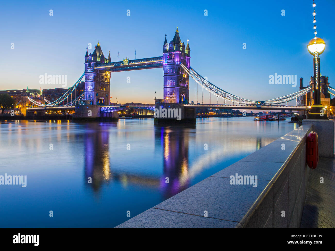 The beautiful Tower Bridge at dawn in London. - Stock Image