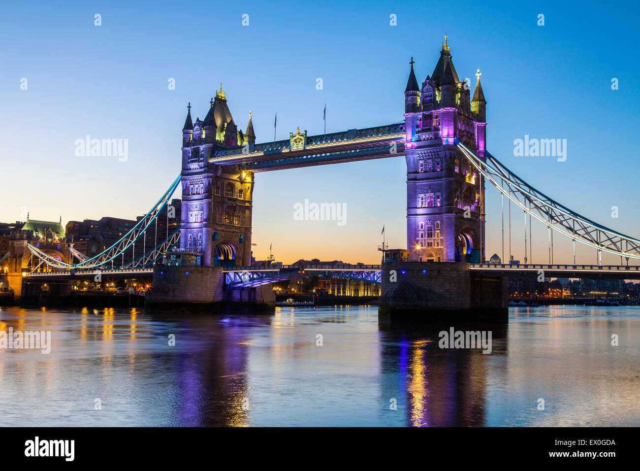 The magnificent Tower Bridge at dawn in London. - Stock Image