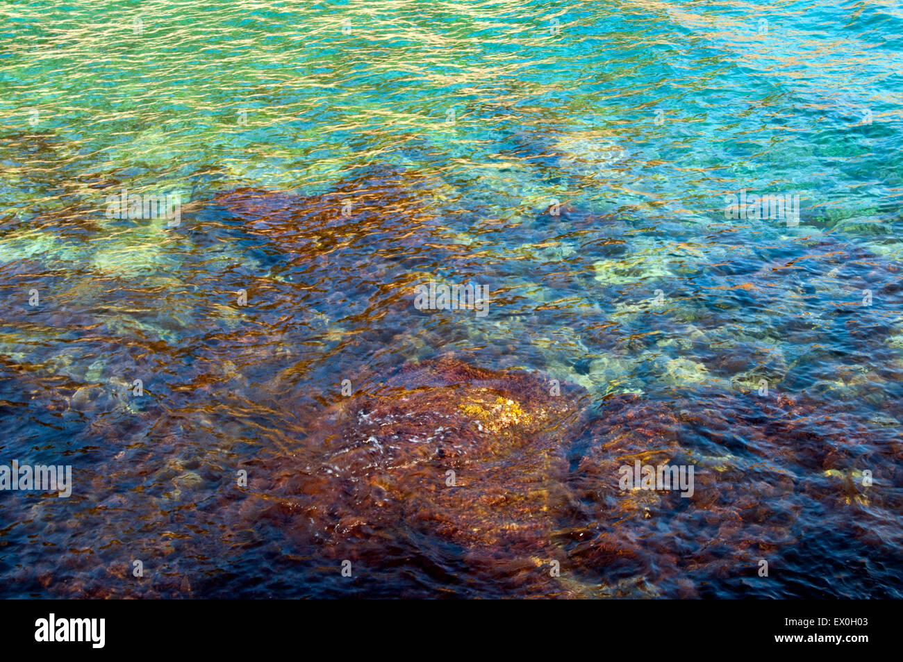 Sea with rocks and colors reflection in Bandol, france - Stock Image