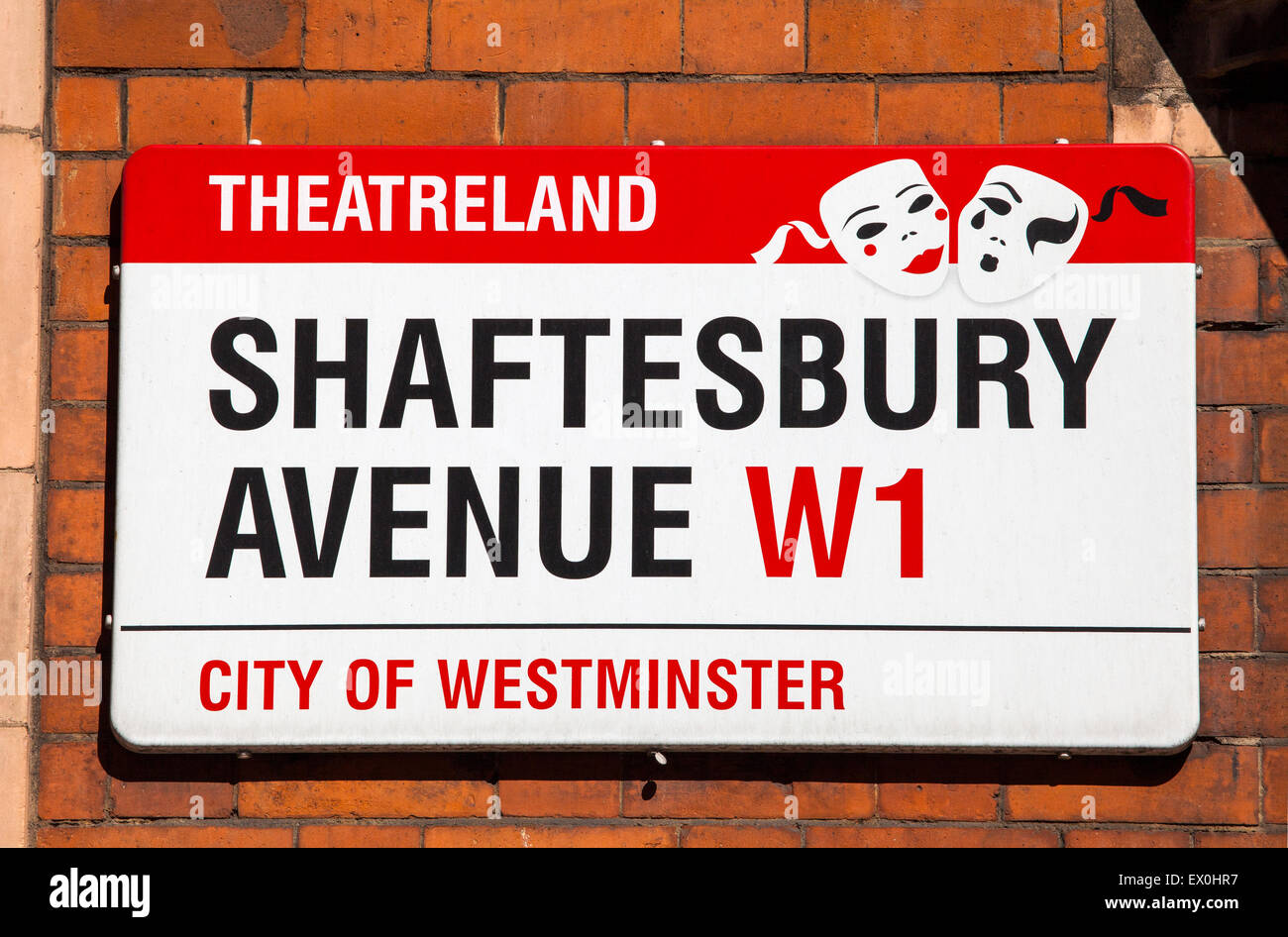 A street sign for Shaftesbury Avenue in London.  The street is famous for being the location of many theatres and - Stock Image
