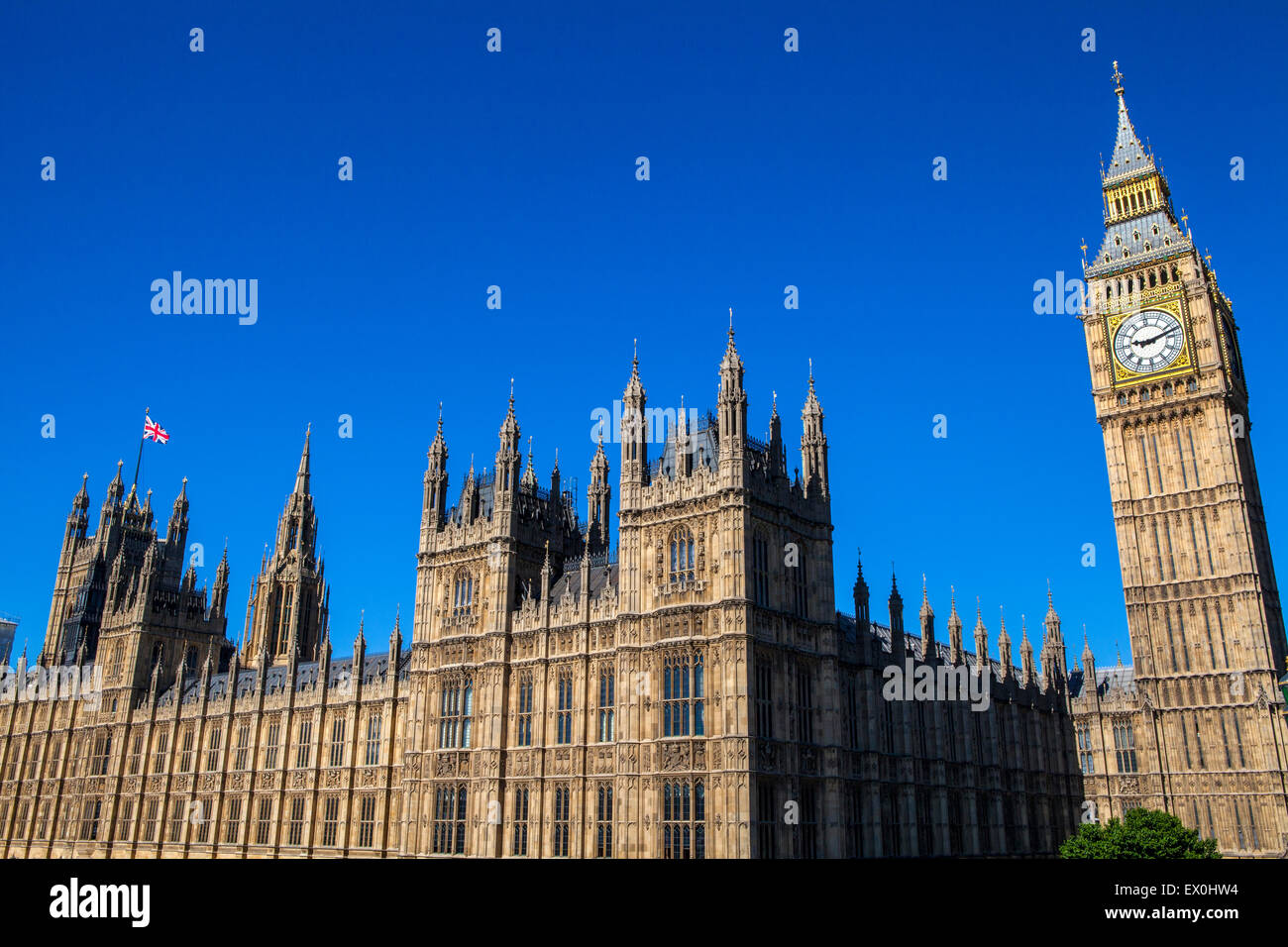 A view of the iconic Palace of Westminster in London. - Stock Image