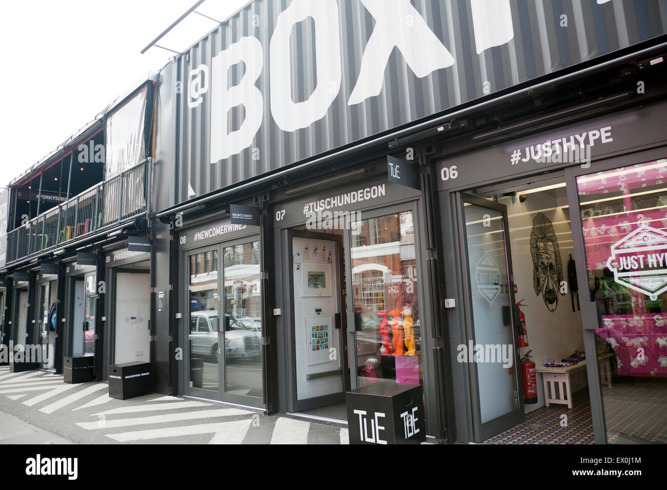 04908af51cd3 Boxpark Container Shopping Mall in Shoreditch - London UK - Stock Image