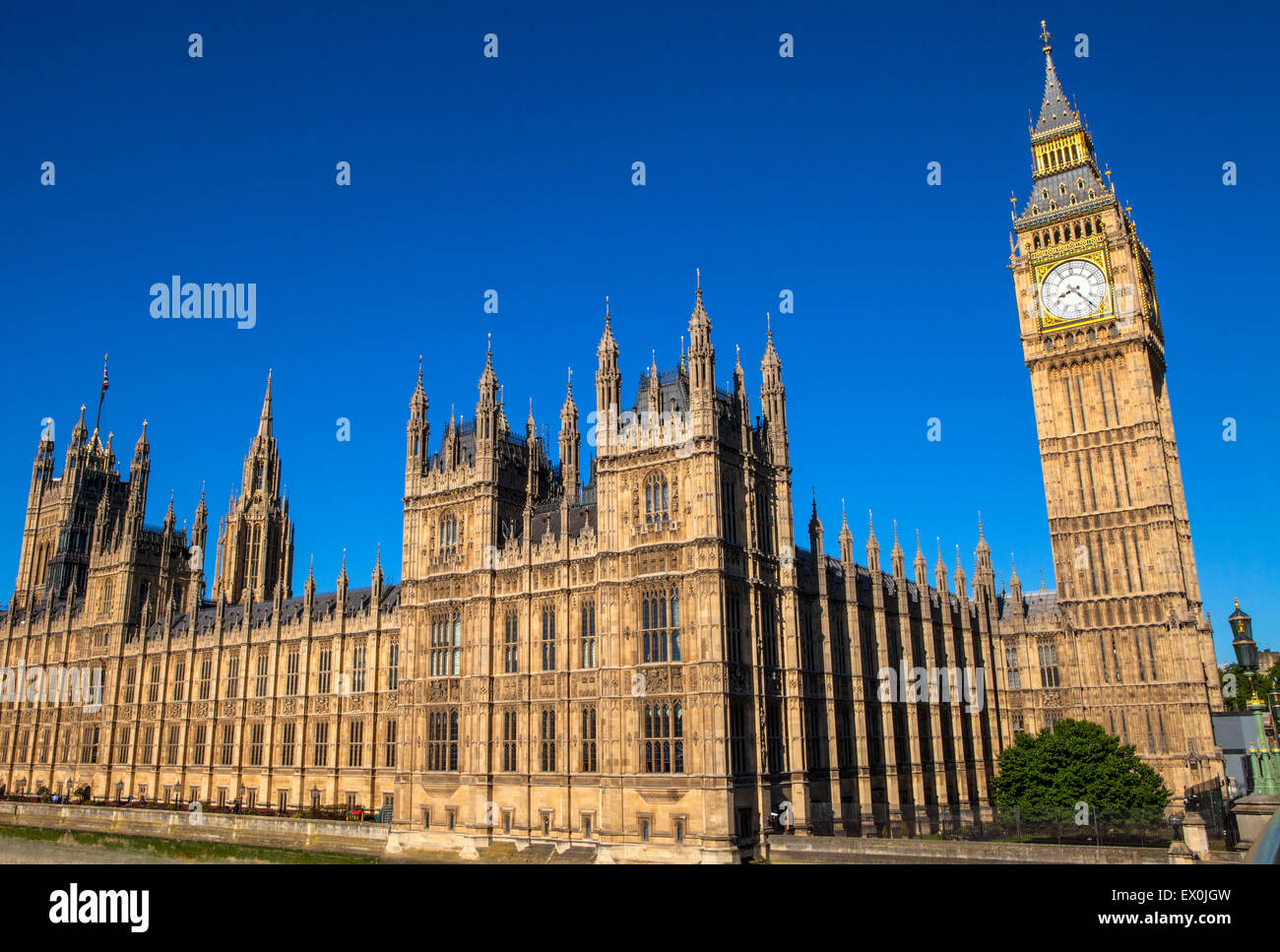A view of the magnigicent architecture of the Palace of Westminster in London. - Stock Image