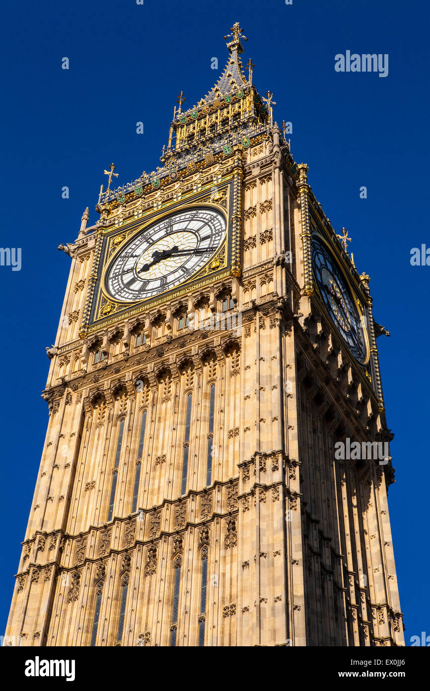 Looking up at the magnificent architecture of the Queen Elizabeth Tower - otherwise known as Big Ben, in London. - Stock Image