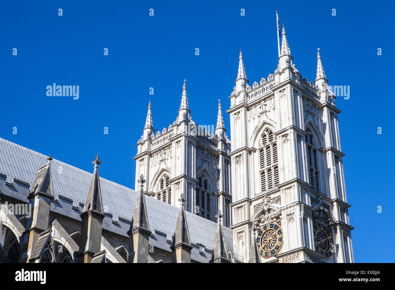 A view of the beautiful Westminster Abbey in London. - Stock Image