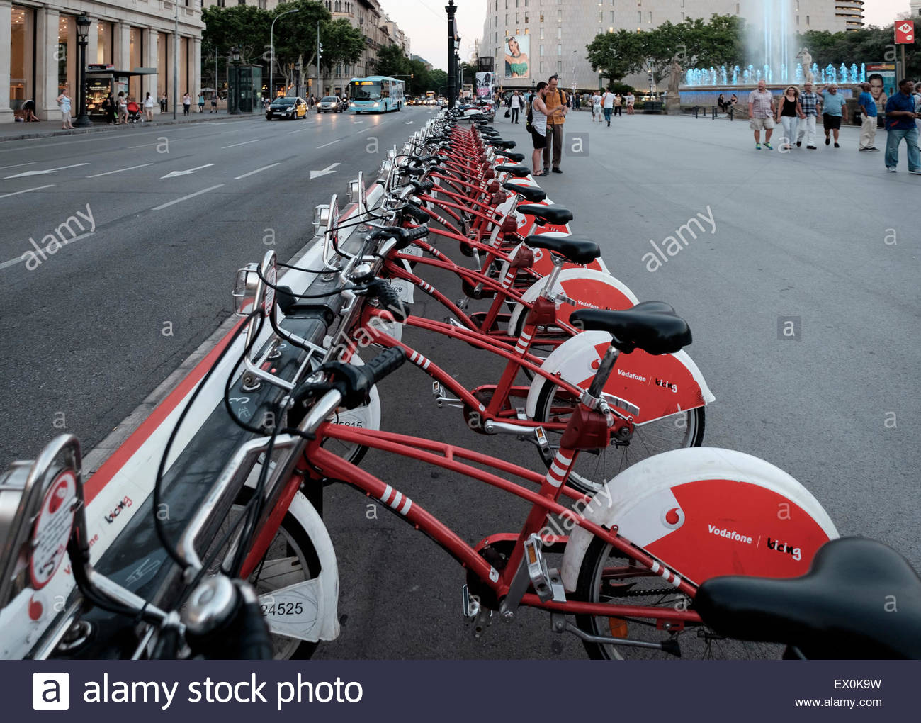 a row of Barcelona's Bicing rented bikes - Stock Image