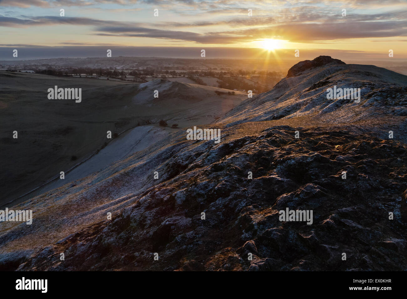 Sunrise from the summit of Thorpe Cloud, Peak District National Park, Derbyshire, England Stock Photo
