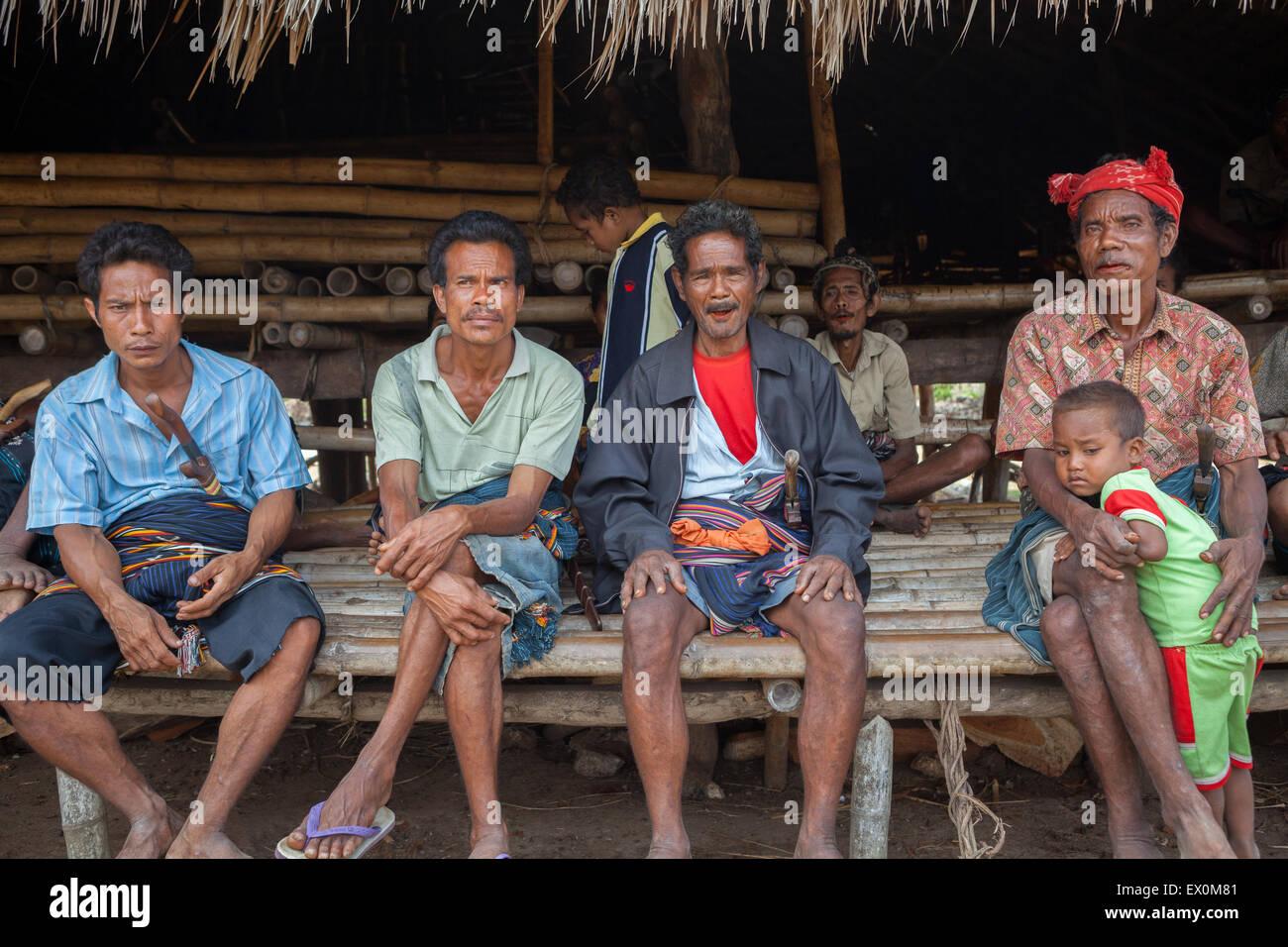 Portraits of local people in Sumba Island, Indonesia. - Stock Image