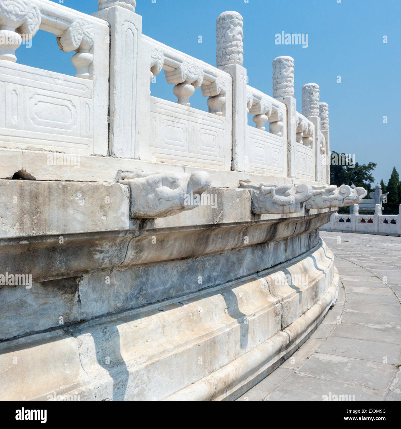Marble balustrade at Temple of Heaven, Beijing, China - Stock Image