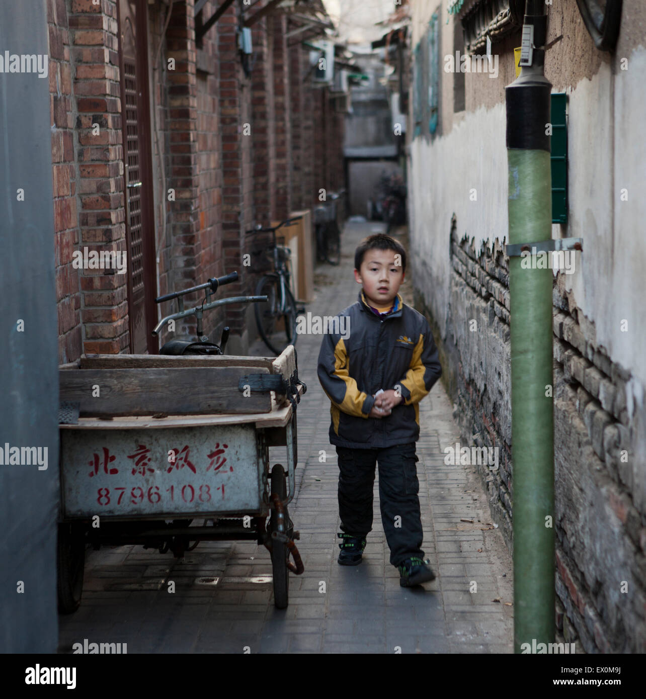 Boy in Hutong, Beijing, China - Stock Image