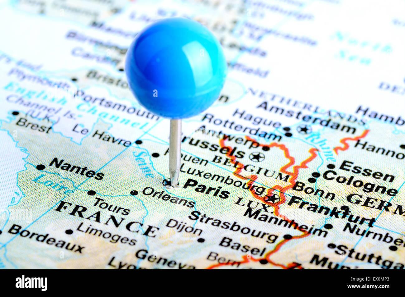 Map Of France Showing Paris.Macro Shot Of A European Map Showing Paris France Stock Photo
