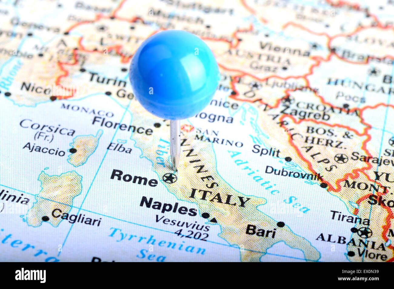 Macro Shot Of A European Map Showing Rome Italy Stock Photo