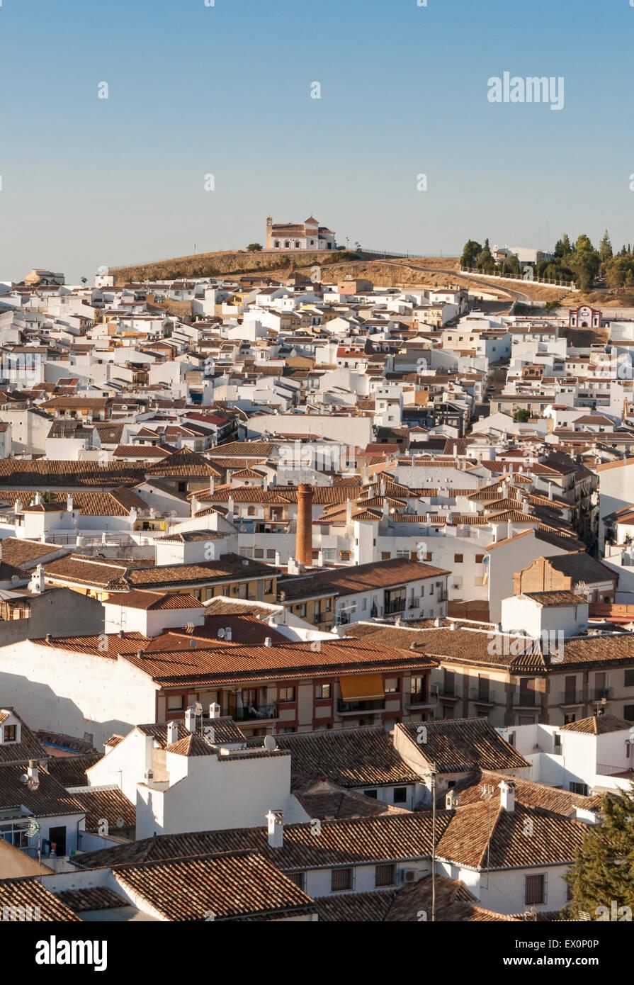 View of Town of Antequera with Hermitage of Vera Cruz (Ermita de la Veracruz), Andalusia, Spain - Stock Image
