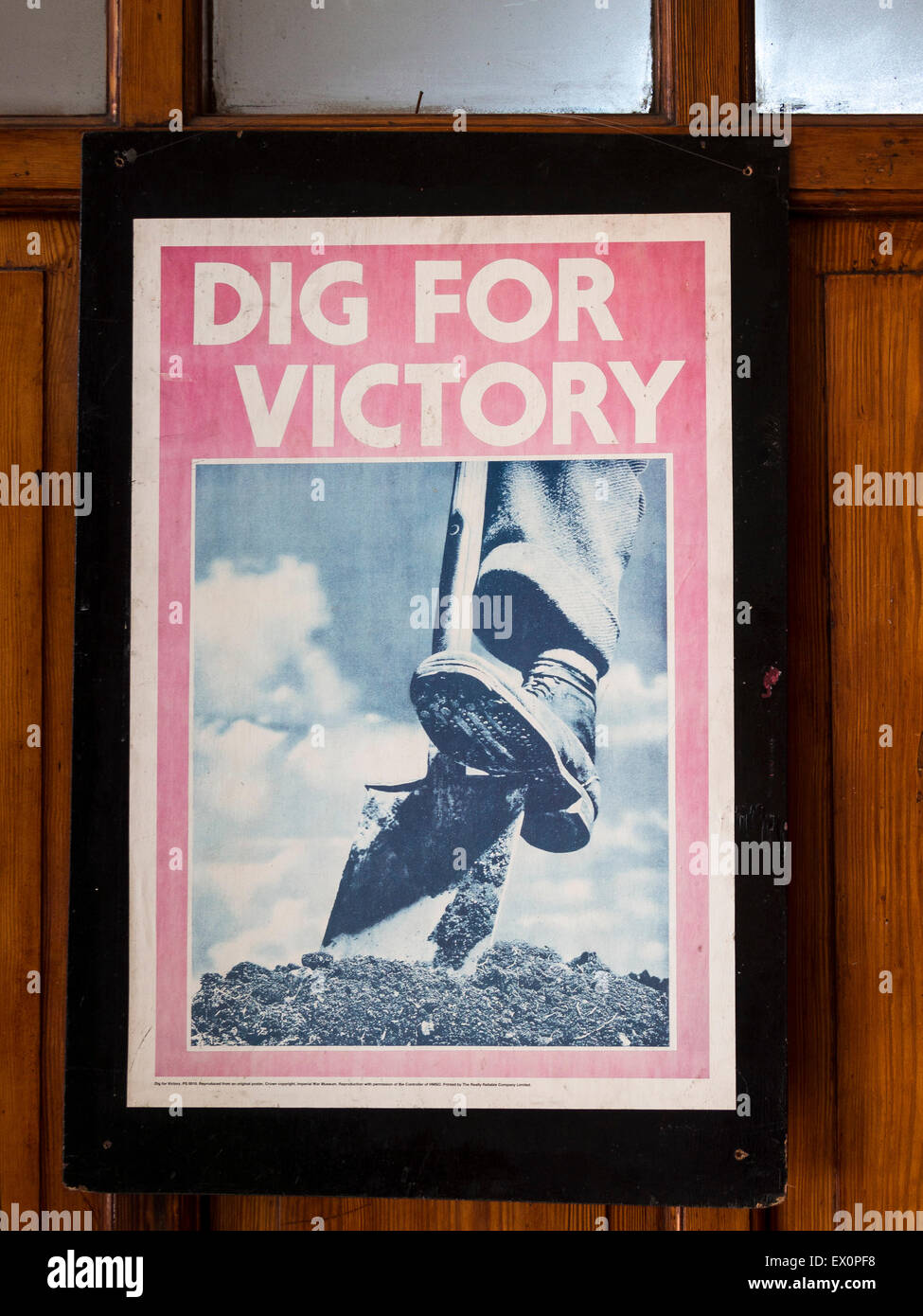 Vintage WW2 propaganda posters on the station platform at Loughborough, on The Great Central Railway, Leicestershire,Britain. Stock Photo