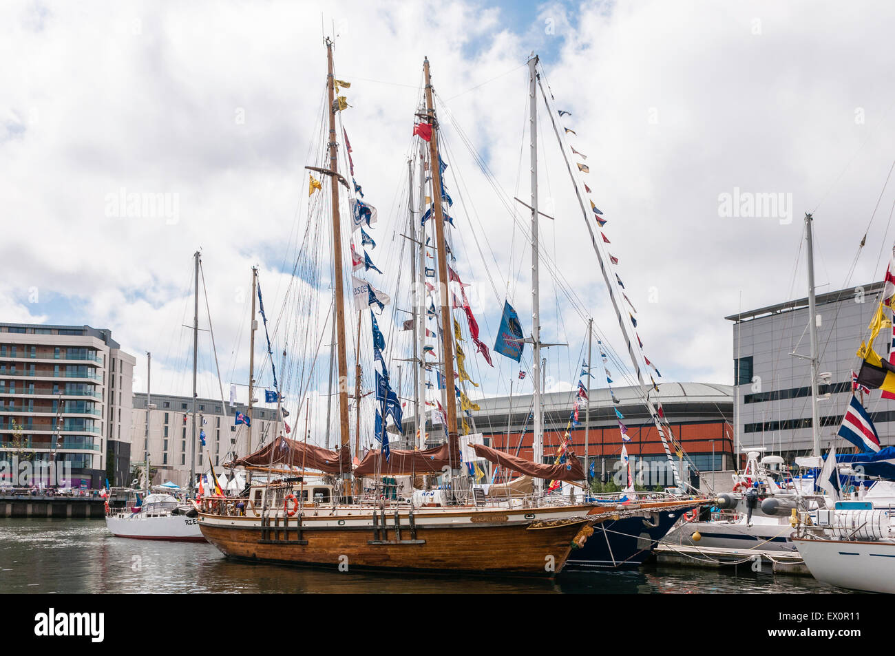 Belfast, Northern Ireland, UK. 03rd July, 2015. A wooden hulled training sailing boat berthed in Belfast Credit: - Stock Image