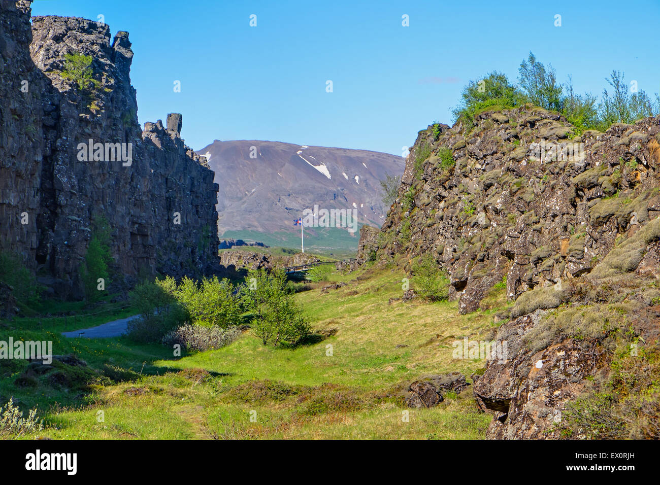 Pingvellir National park in Iceland with the rift valley between North American and Eurasian Plates Stock Photo