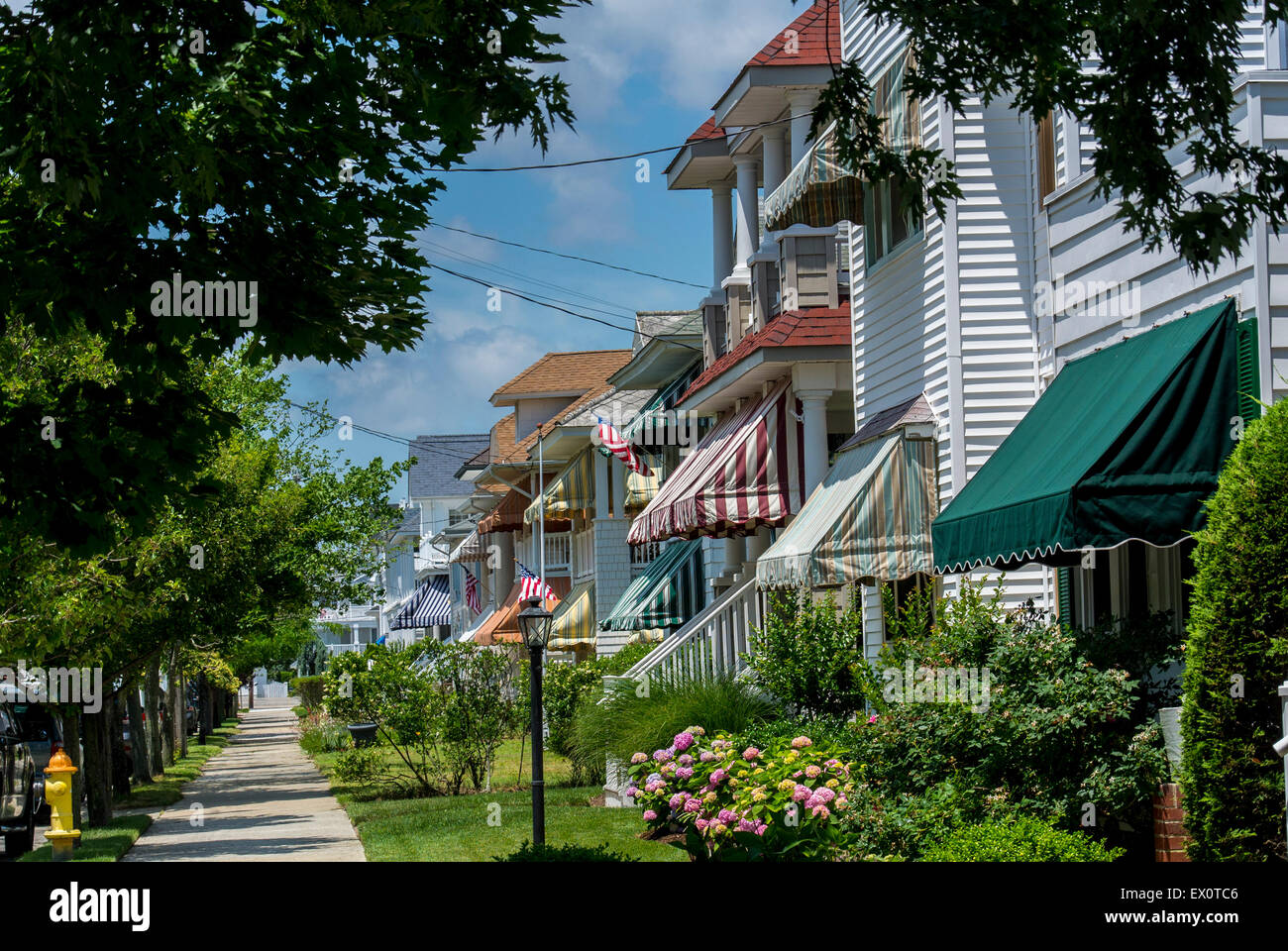 Ocean City New Jersey Usa Wooden Houses With Awnings In Summer