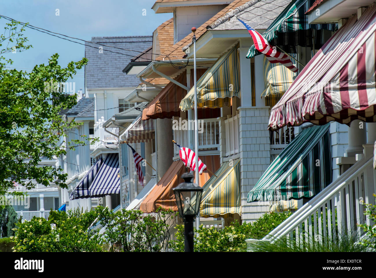 Ocean City New Jersey Usa Detail Wooden Houses With Awnings In