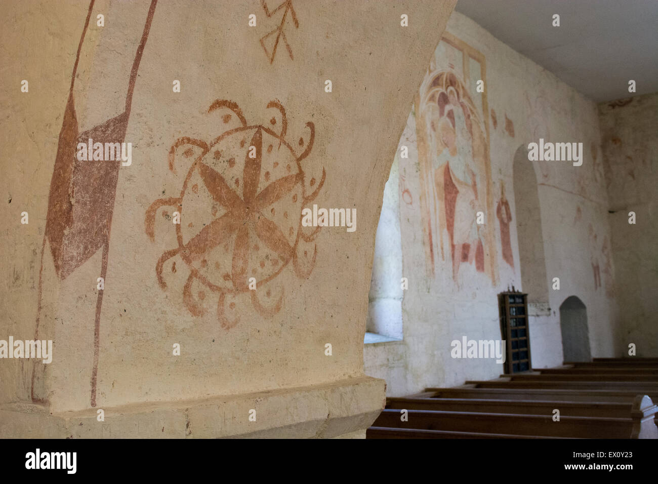 Danish Church Wall Painting in the old church of Højerup, Denmark - Stock Image