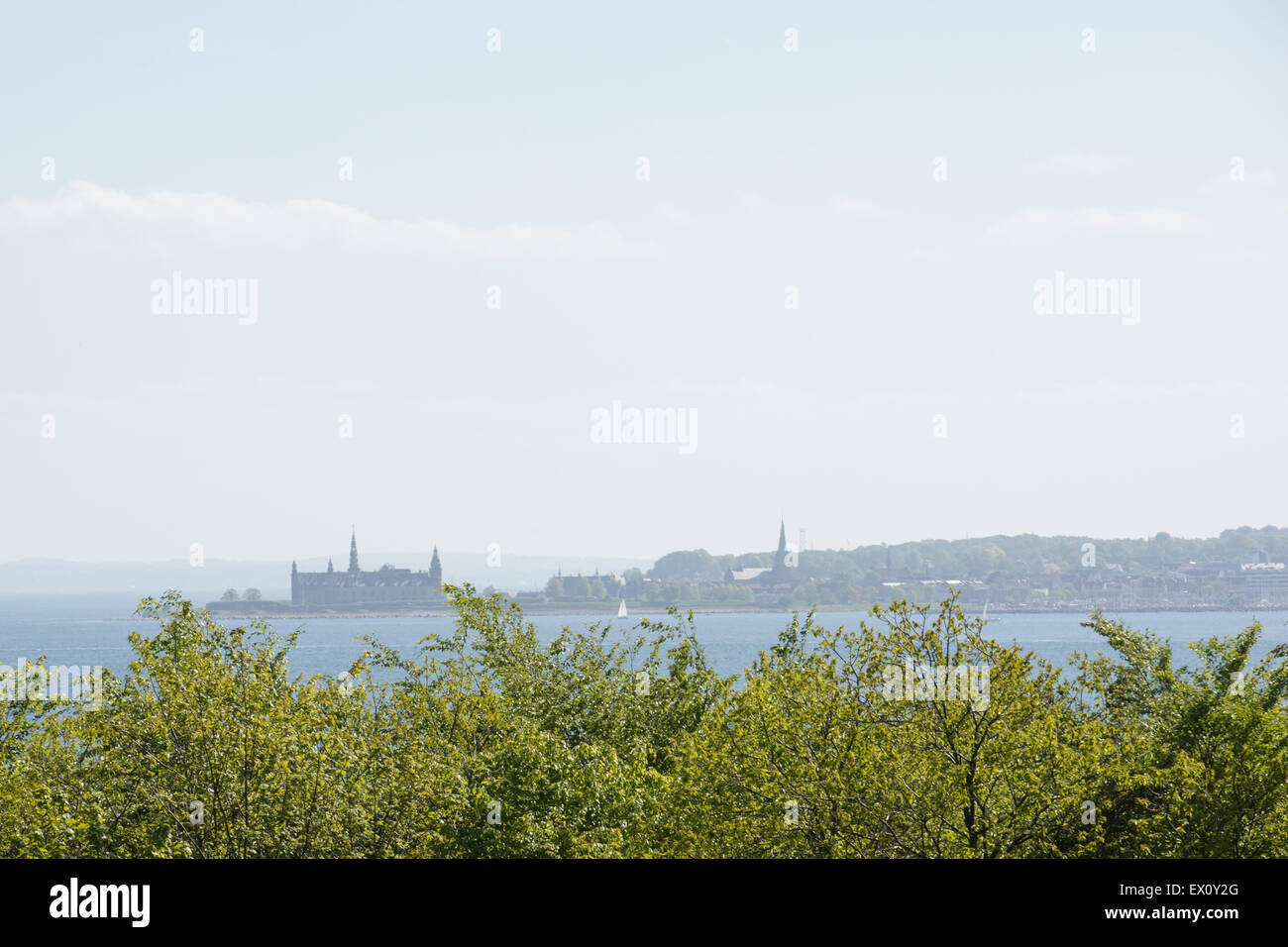 Landscape with the baltic sea and Kronborg castle as seen from Sweden - Stock Image