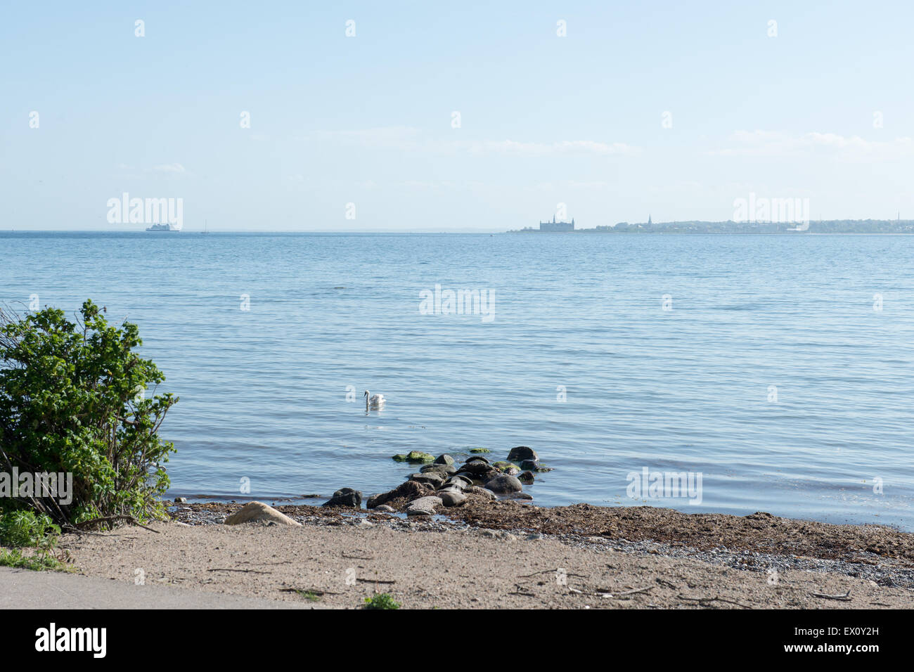 Landscape with the baltic sea and Kronborg castle as seen from Sweden Stock Photo