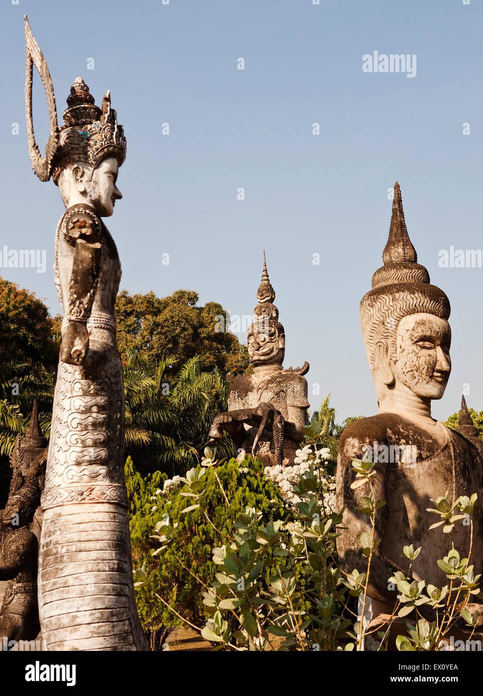 Concrete statues in Xieng Khuan (Buddha Park), Vientiane, Laos P.D.R. Buddha Park was created by Luang Pou Bounlua - Stock Image