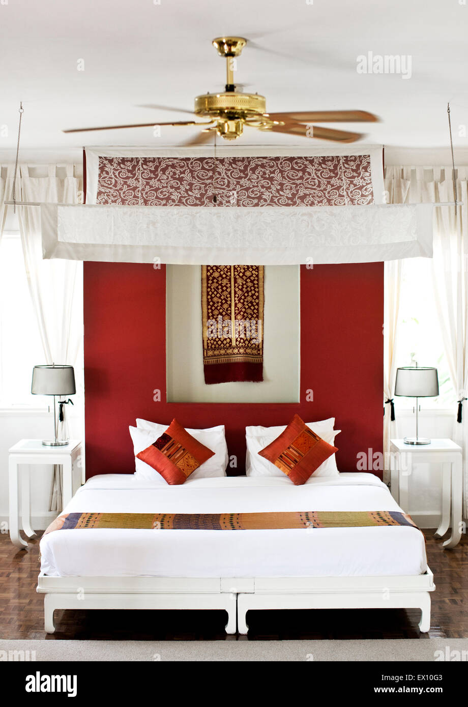 The 'Maison' Room - former bedroom of the Prince. Maison Souvannaphoum by Angsana Hotel. Luang Prabang, - Stock Image