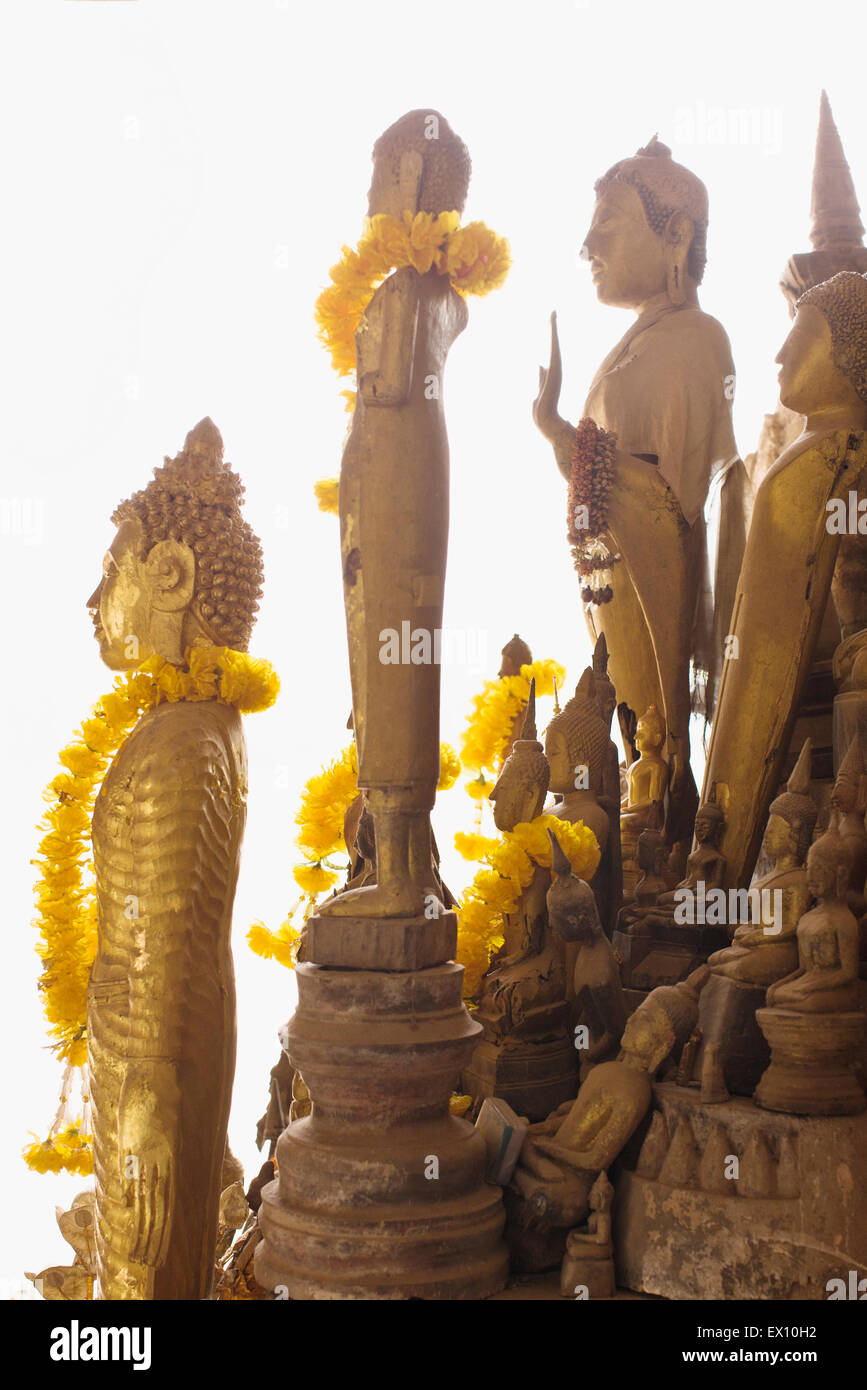 The lower cave of Pak Ou Caves house more than 2,500 Buddhas, most of which are made of wood. Luang Prabang, Laos. - Stock Image