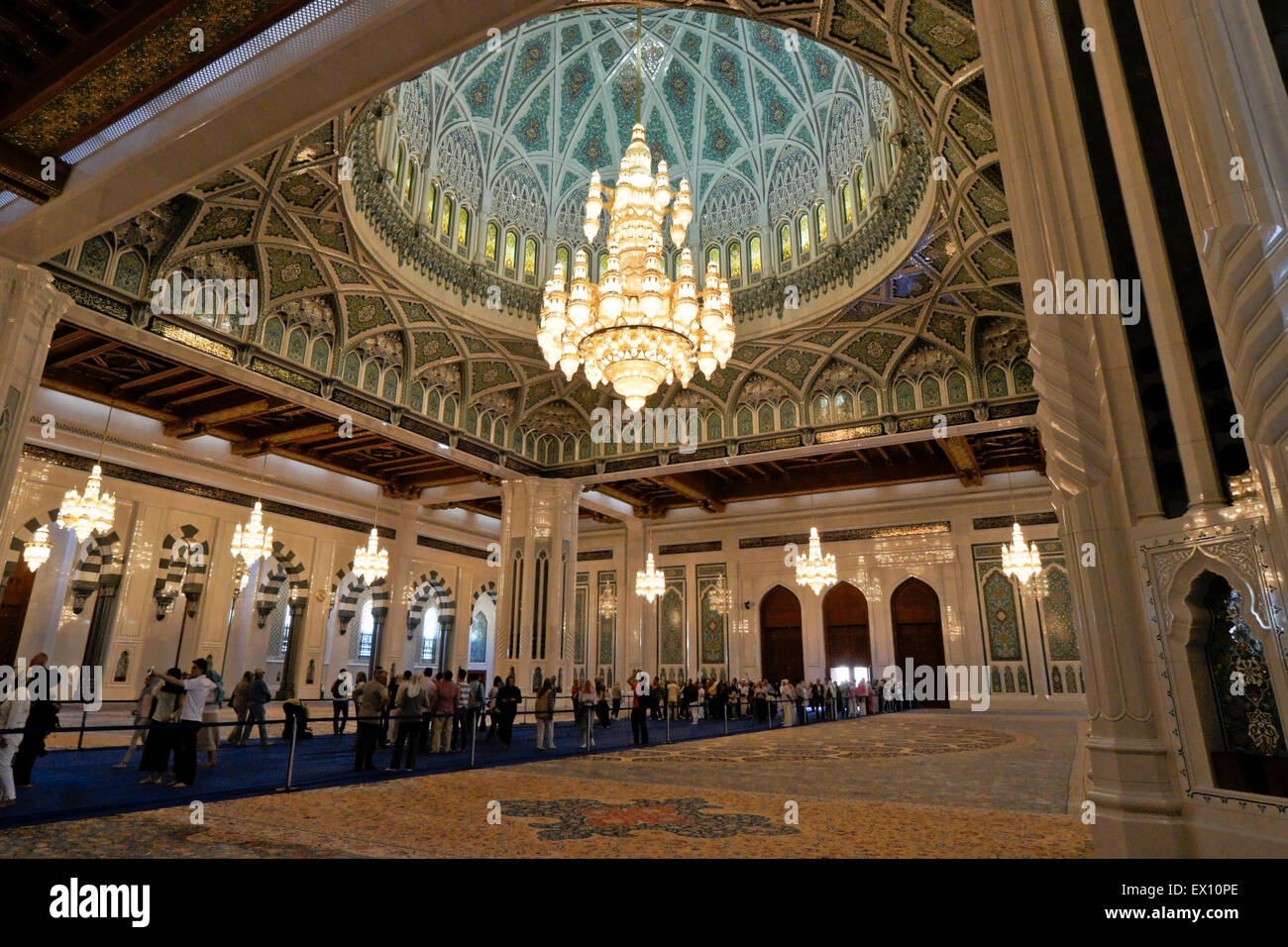 Dome and crystal chandelier interior of sultan qaboos grand mosque dome and crystal chandelier interior of sultan qaboos grand mosque muscat oman aloadofball Images