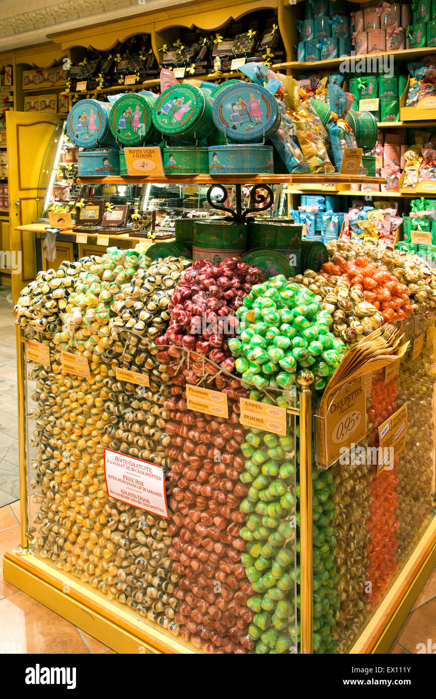 Candy display, La Cure Gourmande Candy Store, Bruges, Belgium - Stock Image