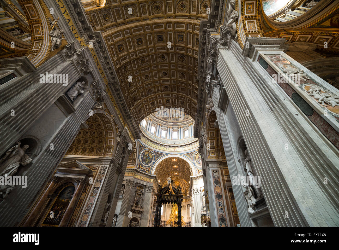 Interior of St. Peter's Basilica - Stock Image