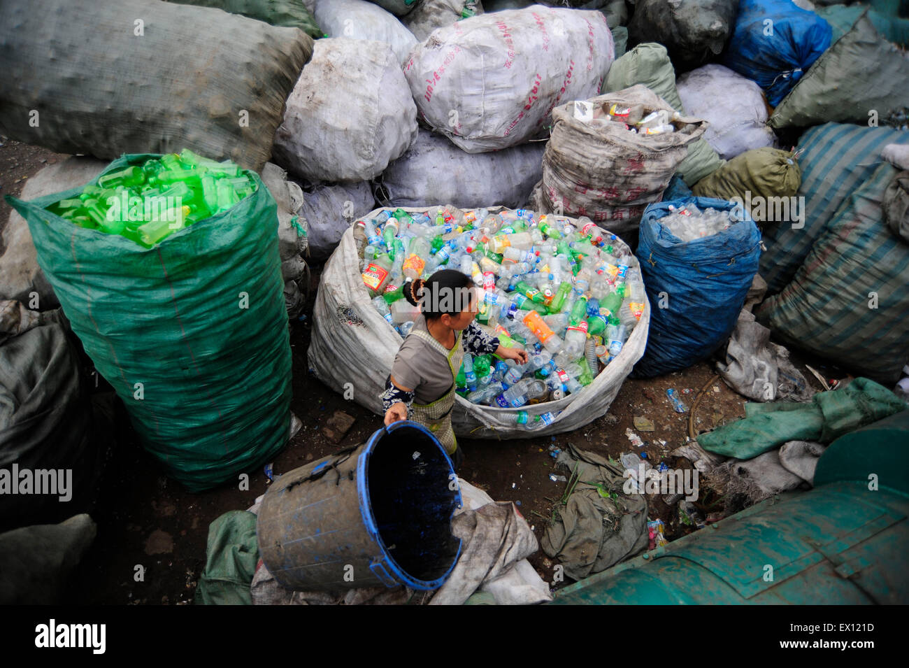 A labourer recycles plastic bottles for selling at a plastic bottle recycling site in Hefei,Anhui province September - Stock Image