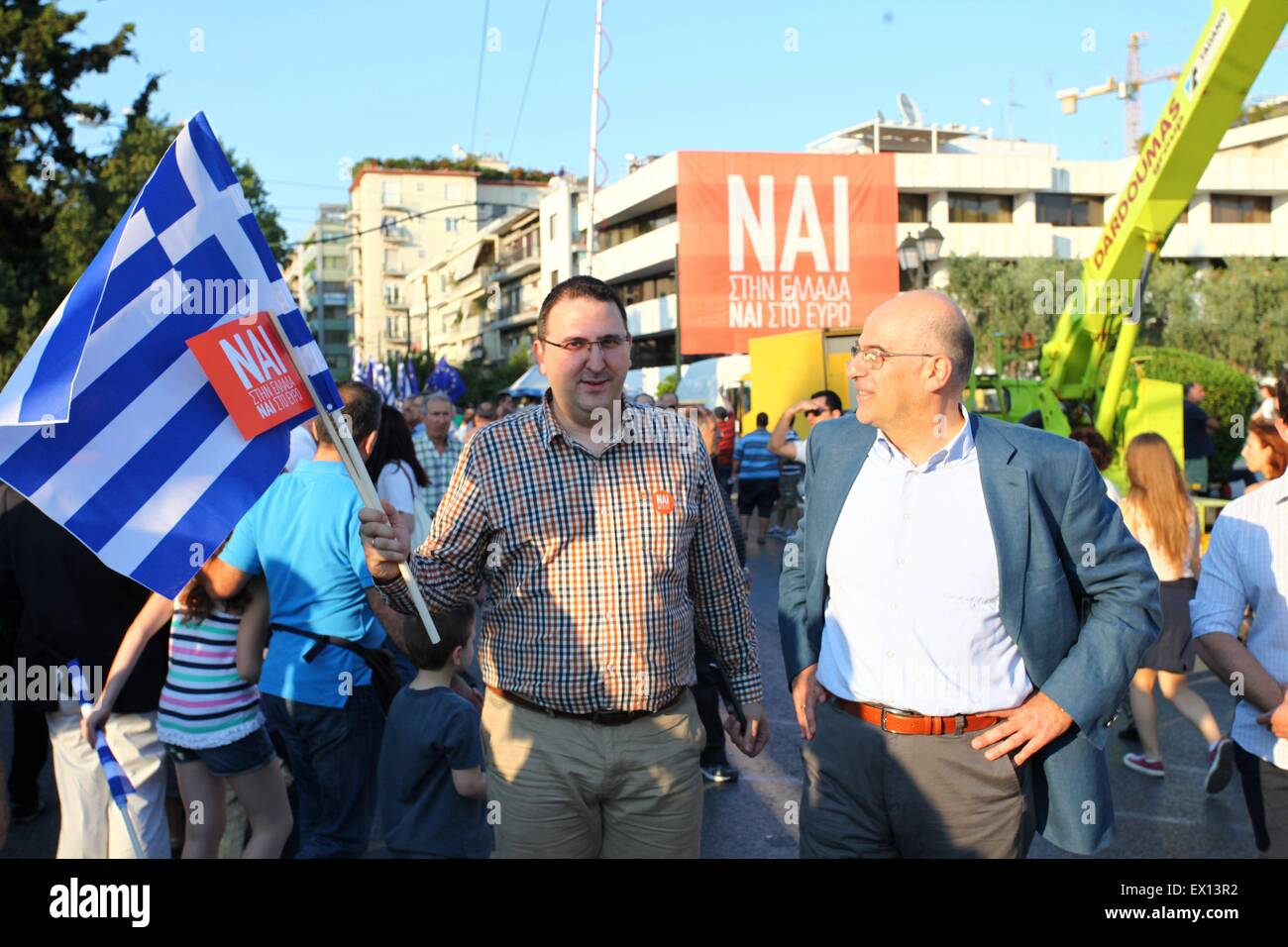 Athens, Greece. 03rd July, 2015. Demonstration in Kalimarmaro Satadium in support of a 'YES' vote for the Referendum Stock Photo