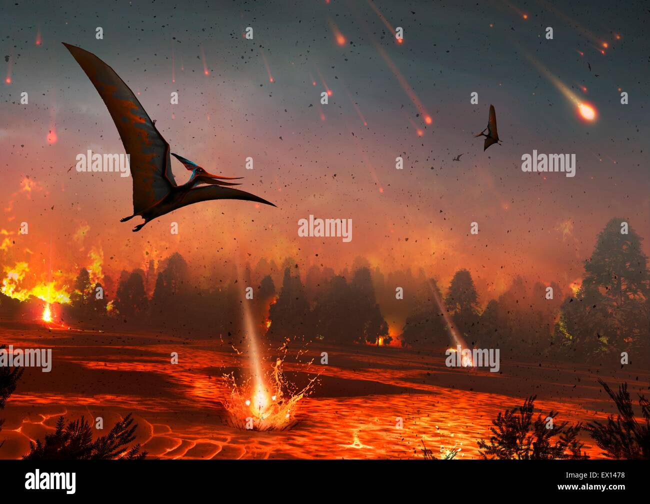 Artwork of pterosaurs flying over a scene of destruction Some 65 million years ago the impact of an asteroid or - Stock Image