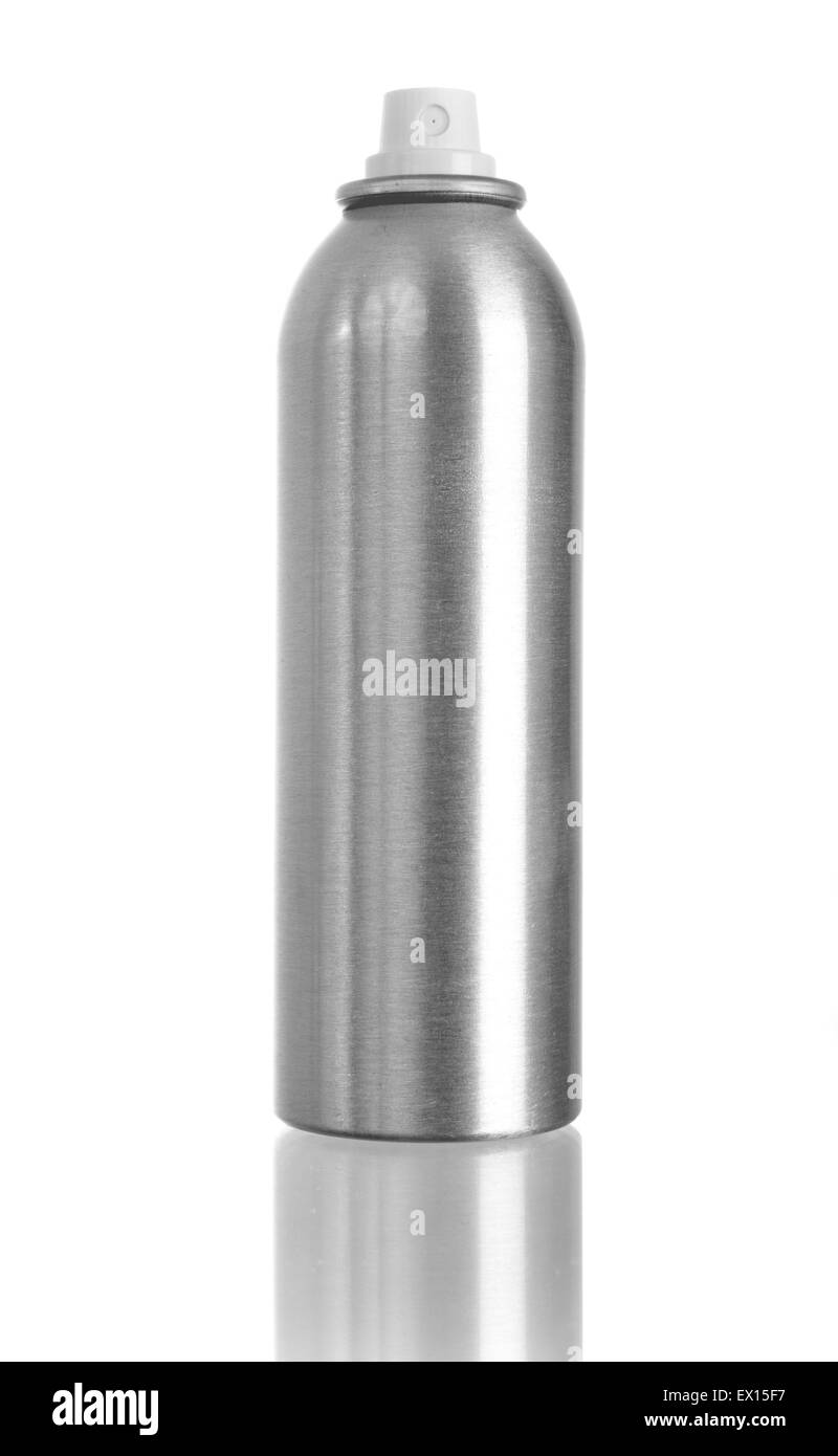 Studio shot of spray can isolated on white with reflection on bottom - Stock Image