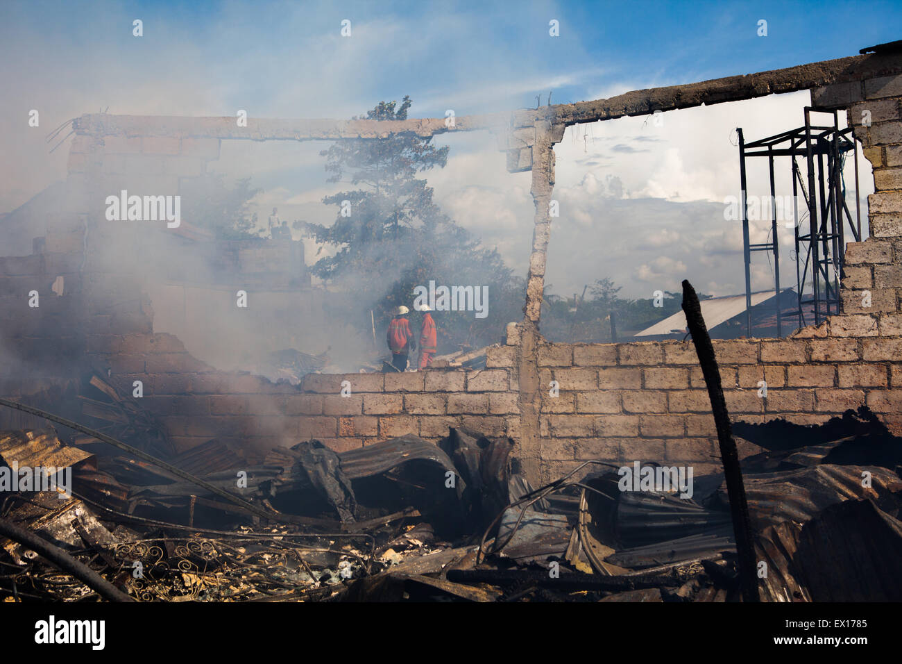 Scene of a warehouse after fire accident in Jakarta, Indonesia. - Stock Image