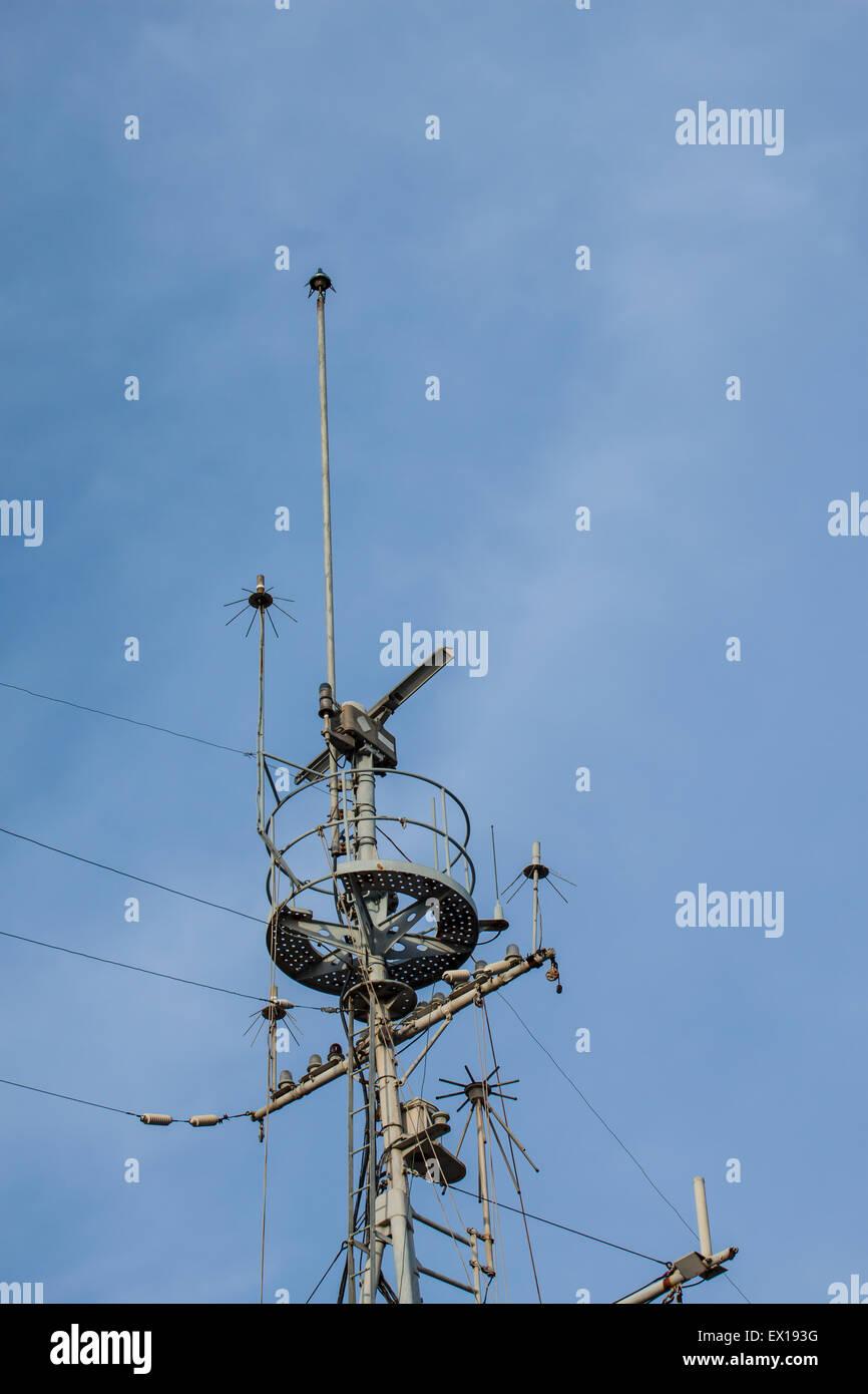 Antenna old warships - Stock Image