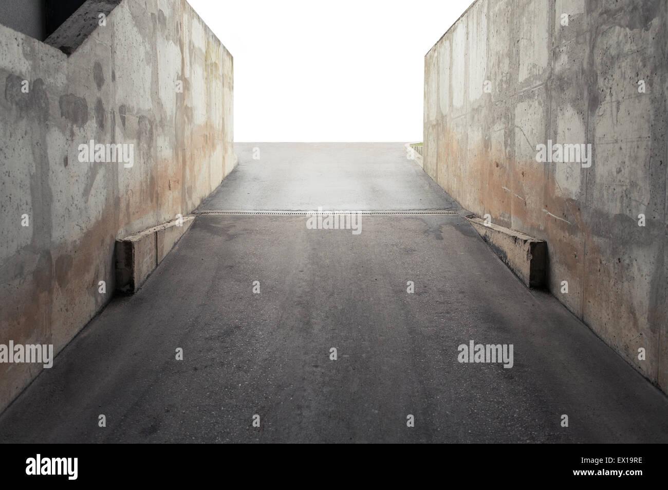 Garage Entrance, Concrete Walls Surrounding   Stock Image