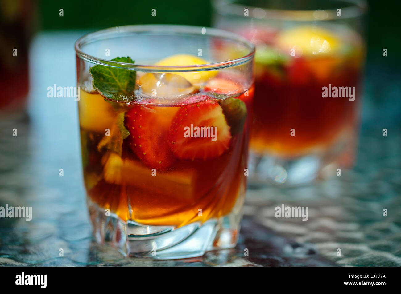 Traditional pimms and lemonade Stock Photo