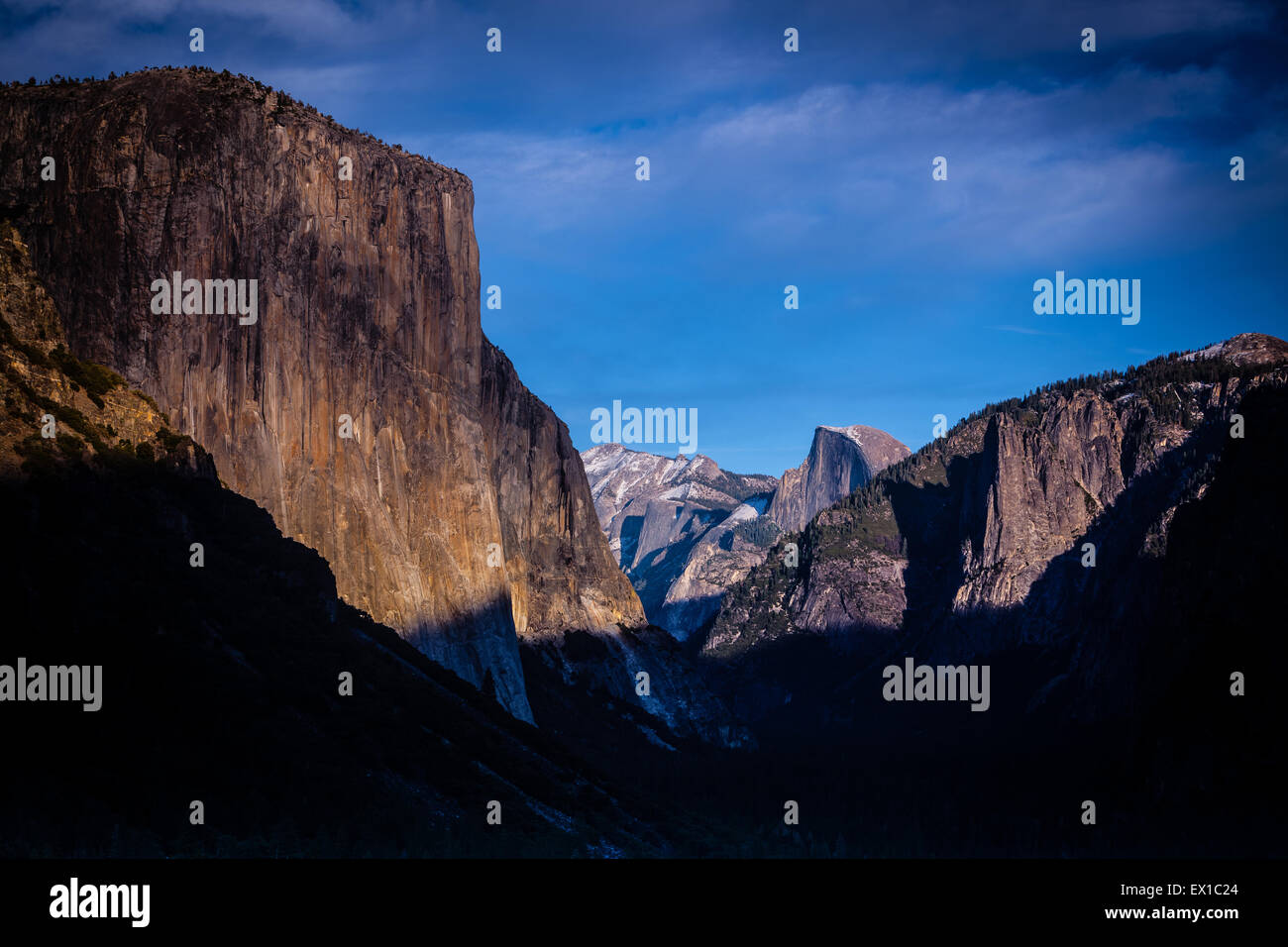 Yosemite Valley from Tunnel View. late evening sunshine with snow on the peaks Stock Photo