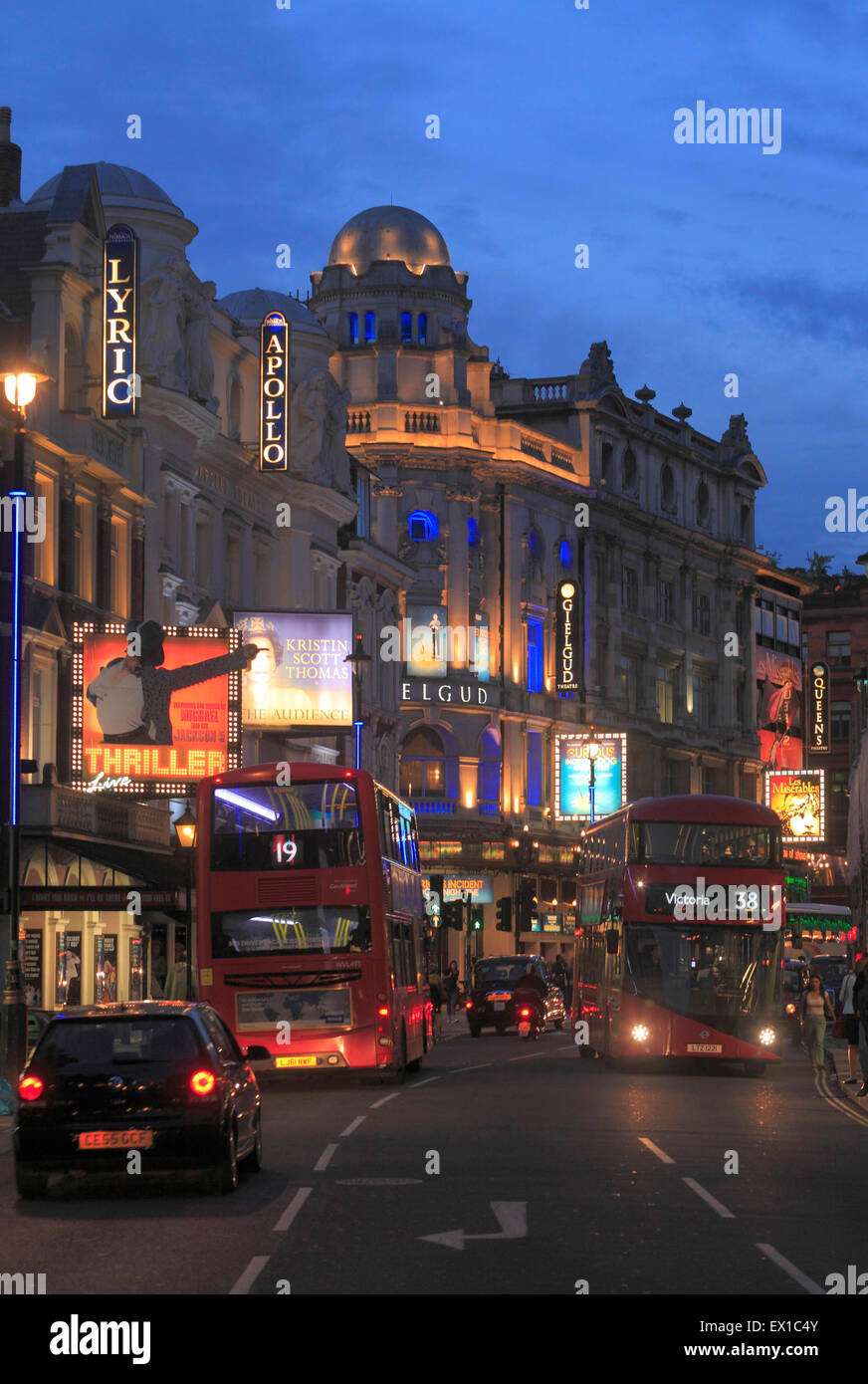 Shaftesbury Avenue Theatres in Londons West End. - Stock Image